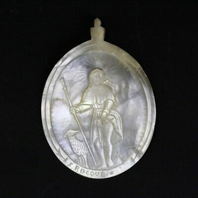 Rare Large Signed S. Rocque Carved Mother of Pearl Religious Plaque Pendant SMS
