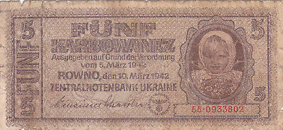 5 Karbowanez Vg Banknote From Ukraine 1942!nazi Occupation Issue!pick-51