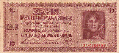 10 Karbowanez Vg Banknote From Ukraine 1942!nazi Occupation Issue!pick-52