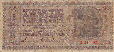 20 Karbowanez Vg Banknote From Ukraine 1942!nazi Occupation Issue!pick-53