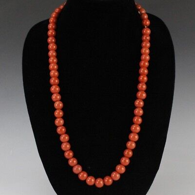 Vintage Chinese Export Peking Glass Faux Salmon Red Coral Beaded Necklace MAE NR