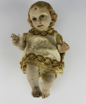 Antique Spanish Colonial Style Plaster Baby Jesus Santos w Glass Eyes Statue SMS