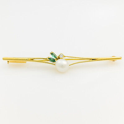 18K Yellow Gold Freshwater Pearl with Emerald & Diamond Accented Bar Brooch