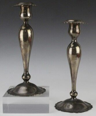 Pr Shreve Treat Eacret Weighted Sterling Silver 925 Candleholders 593 grms MAE