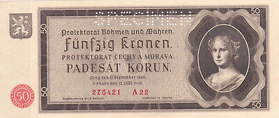 50 Korun Unc Banknote From Bohemia-Moravia 1940!nazi Occupation Issue!pick-5S