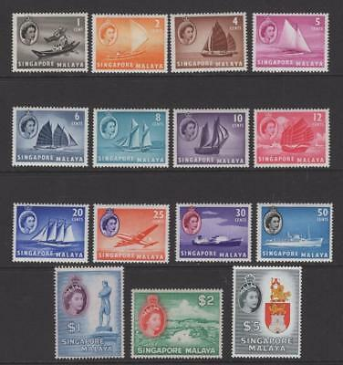 Singapore 1955 Complete QEII Set - OG MLH - SC# 28-42  Cats $148.90
