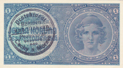 1 Koruna Unc Banknote From Bohemia-Moravia 1939!nazi Occupation Issue!pick-1