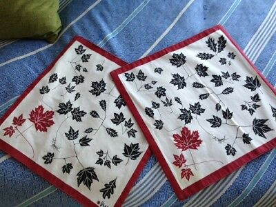 Two Vintage Vera Neumann Cotton Placemats - Red, Black & White Autumn Leaves
