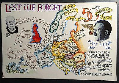 Postcard Lest We Forget 50th Anniversary of World War II WWII Churchill Hitler
