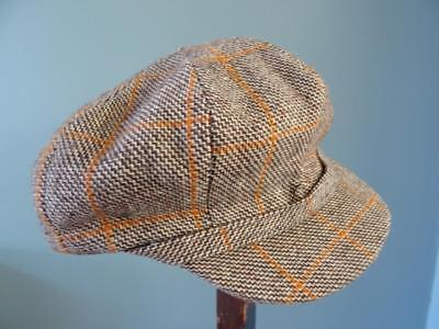 Vintage 1940s WW2 Era CC41 Young Boys Flat Cap - Checked Tweed - Utility Mark