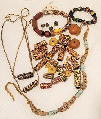 Vintage Venetian glass African Trade Bead Lot Large Amber, multi colors variety