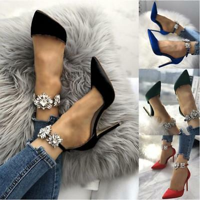 Women High Stilettos Heels Sandals Ladies Sexy Drill Ankle Strap Point Toe Shoes
