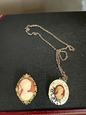 Vintage Cameo Pin & Locket on Chain