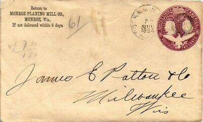 Dr Jim Stamps Us Rock Min Railway Post Office Embossed Cover 1894 Backstamp