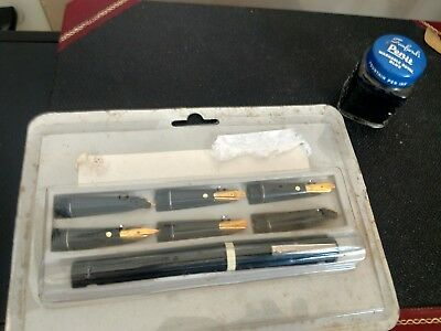 Vintage Calligraphy Set - Osmiroid with 5 Nibs -MIP +-Full Pen-It Ink in Bottle