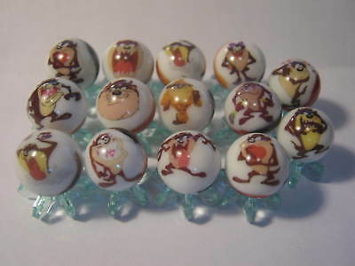 taz tasmanian devil Looney Tunes GLASS MARBLES 5/8 SIZE collection lot + STANDS