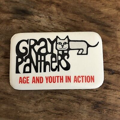 Vintage Gray Panthers Pinback Button Age And Youth In Action Resist Protest
