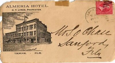 Dr Jim Stamps Us Almeria Hotel Illustrated Tampa Florida Front Only Cover 1896