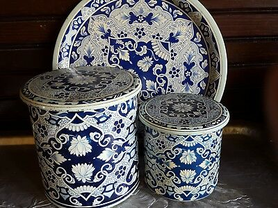 Vintage Delft Holland tins canisters with lids and tray