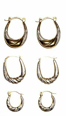 3x .375 9ct TWO TONE GOLD Various Size Creole Hoop Latch Earrings, 1.88g - S20