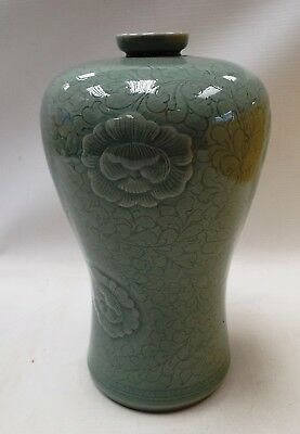 Vintage CHINESE Glazed Pottery Green Vase With Floral Design - Y99