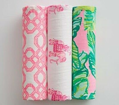 New Lilly Pulitzer Swaddle Blanket Cotton Muslin Pink Well Connected Bazaar