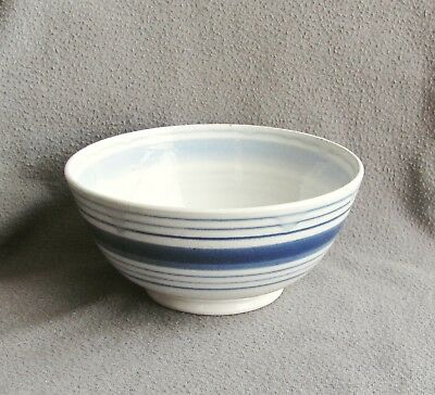 Old Staffordshire Pottery Mixing Bowl White w/ Blue Bands