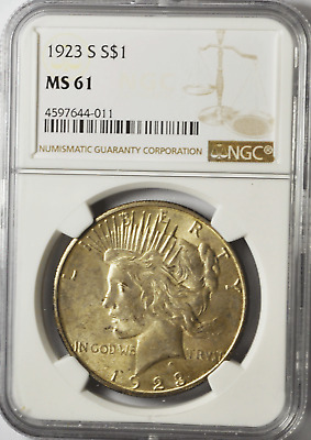 1923 S $1 Peace Liberty Silver Dollar NGC MS61 VAM 1C Pitted Reverse