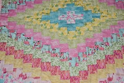 Handmade Baby Quilt, Toddler, Pink Green Yellow Blue Flamingos Girl Colorful