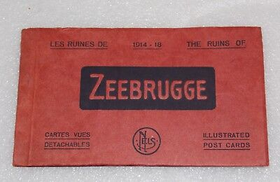 THE RUINS OF ZEEBRUGGE WWI 1914-1918 10 Postcards RPPC Booklet Unposted