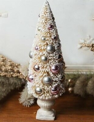 Christmas Tree White Bottle Brush Tabletop With Pastel Beads New Shabby Chic