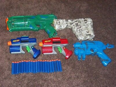 Lot of 4 Used Painted/Modded Nerf Pistols + 15 Darts