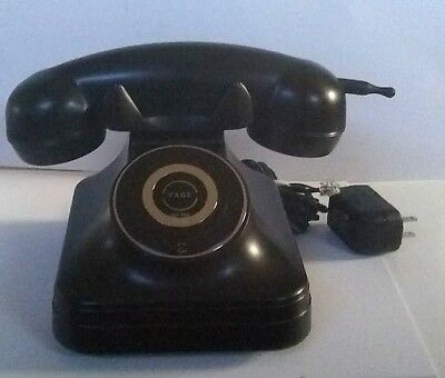Pottery Barn Cordless Grand Phone Black Vintage Rotary Look Works