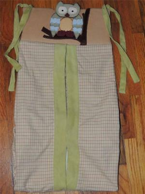 Lambs &  Ivy Enchanted Forest Diaper Stacker Holder Owl Green Tan