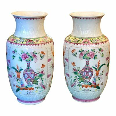 Pair of Antique Chinese Pottery Famille Rose Vases