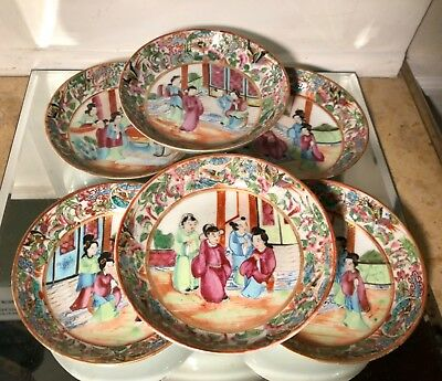 Set of 6 Antique Chinese Pottery Famille Rose Bowls