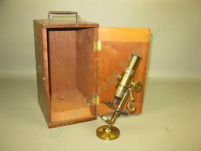 """8"""" Vtg Antique Brass Microscope Marked """"12"""" On Base W/ Wood Wooden Case Box Lot"""