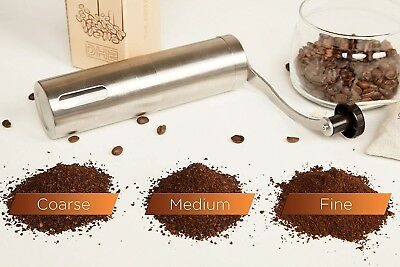 Manual Coffee Grinder with Ceramic Burrs, Brushed Stainless Steel, FDA Approved