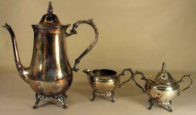Vintage Silver Plate 3 Piece Coffee Pot Creamer & Sugar Unmarked Needs Cleaning