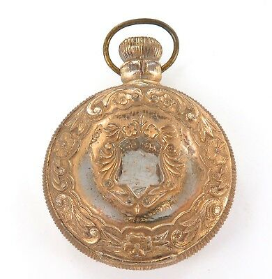 Unusual / Antique Pocket Watch Shaped Glass & Metal Ornament. Counter Display ?