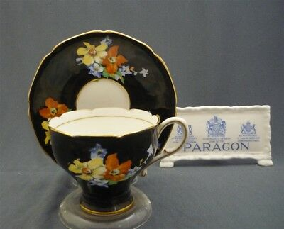 Black Hand Painted Paragon England Pink Flowers Bone China Tea Cup & Saucer Duo
