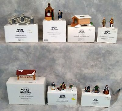 Department 56 Lot Of 7 Heritage Village Figurines And Bridges  Collectible