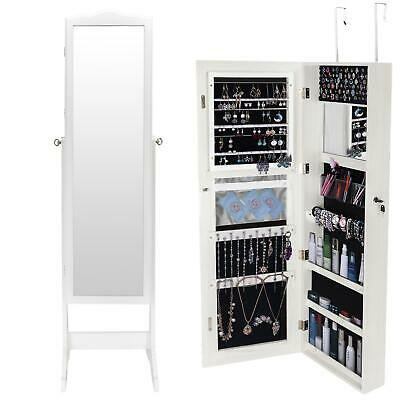 Lockable Large Wall Mounted/ Stand Jewelry Mirror Organizer Box Cabinet Armoire