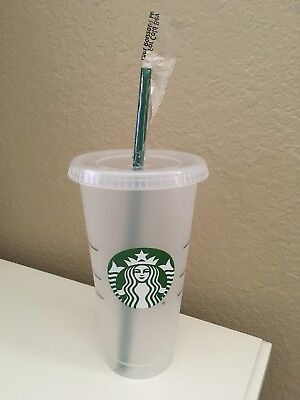NEW Starbucks Reusable Plastic To Go Cup With Lid/Straw Logo 24oz Venti
