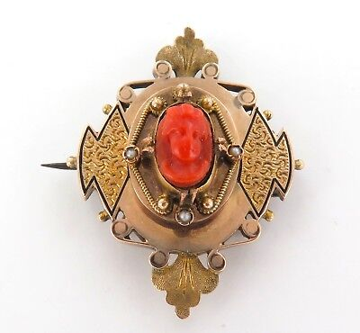 .1800s 14K GOLD, RED CORAL & SEED PEARL UNUSUAL HEAVY SET CAMEO BROOCH. 11 GRAMS