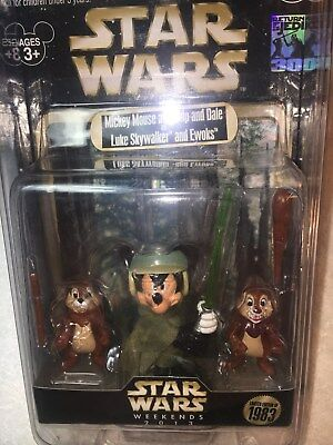 Star Wars Weekends 2013 Mickey Luke, Chip & Dale Ewoks Le 547/1983 30Th Figurine