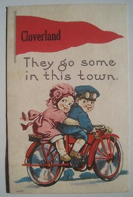 Cloverland IN Couple on Motorcycle Old 1910s Postcard; Brazil Cancel; Luther IA