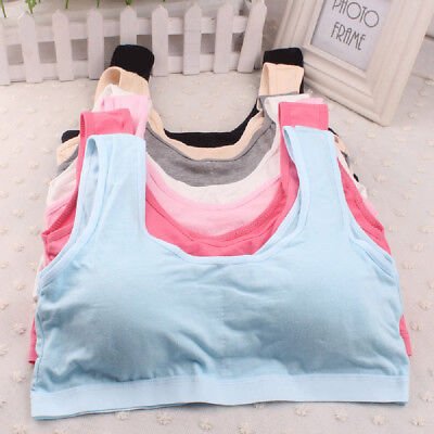Sports Kids Girls Cotton Bra Tank Vest Padded Teens Crop Top Underwear Clothes
