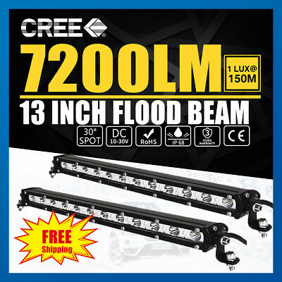 2x 13inch CREE LED Work Light Bar Spot Flood OffRoad Driving Reverse 4x4 Ford