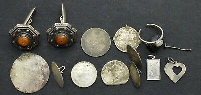 Mixed lot of Antiquarian Silver jewelry items 28gr